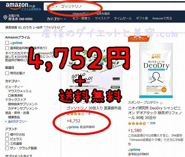 ゴッソトリノのAmazonの検索画面の画像